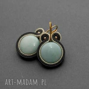 sisu kolczyki sutasz z jadeitami, sznurek, eleganckie, wiszące, turkusowe, kamień
