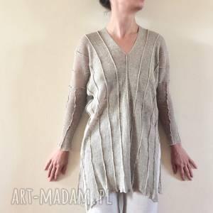 ręcznie robione swetry lniany sweter w kolorze naturalnym