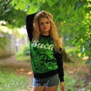 nietypowa bluza print 3d z nadrukiem napisem buch marihuana trawka, bluza,