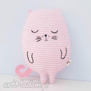 kotek przytulaczek różowy w paseczki - ,kot,kotek,różowy,maskotka,przytulanka,lalka,