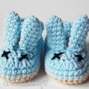 szydełkowe balerinki z uszami niebieskie, balerinki, szydełkowe, uszy, króliczek