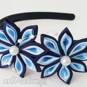 Granatowo-niebieska opaska dla dziewczynki opaski bukiet pasji