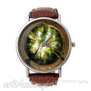 las - skórzany zegarek z dużą tarczką, prezent, drzewa