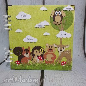 album - leśni przyjaciele zdobione karty, jeż, wiewiórka, sarenka, misiu, sowa, las