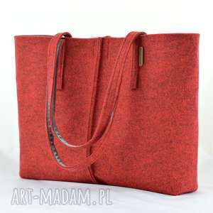 ręczne wykonanie na ramię duża bordowa minimalistyczna torebka - pojemna