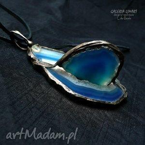 Prezent Agat w kolorze indygo 3D. Wisior niezwykły, agat, ekskluzywny, handmade