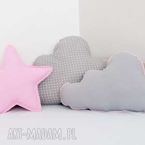 zestaw 3 poduch różowo-szary, poduszka-chmurka, poduszka-gwiazdka