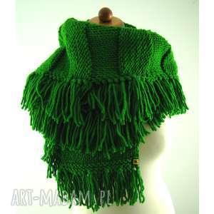 zielony szal z frędzlami, szal, szalik, frędzle, zimowy, miękki,