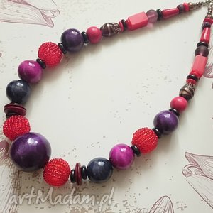 Rouge violet, naszyjnik, korale, drewno, akryl