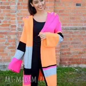swetry kolorowy damski sweter, jesienny kardigan, zimowa narzutka z długim rękawem