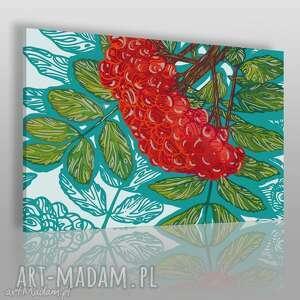 obraz na płótnie - czerwona jarzębina 120x80 cm 65301, jarzębina, jesień, drzewo