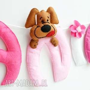 personalizowana girlanda z imieniem dziecka filc piesek zajĄczki - girlanda, filc, dekoracja, zajac, imię, dziecka