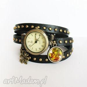 Prezent Bransoletka, zegarek - Jesienne liście czarny, nity, skórzany, bransoletka
