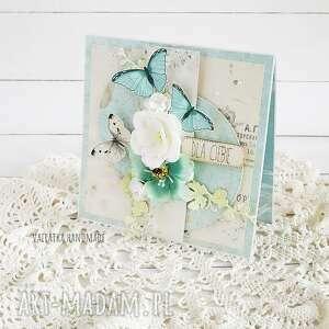 vairatka-handmade z turkusowymi motylami kartka w pudełku - życzenia