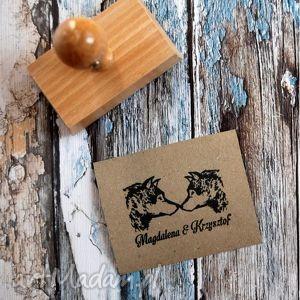 druklove stempel exlibris 60x40 zakochane wilczki, zaproszenia, wesele, ślub