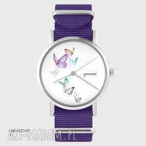 ręcznie zrobione zegarki zegarek - motyle fioletowy, nato