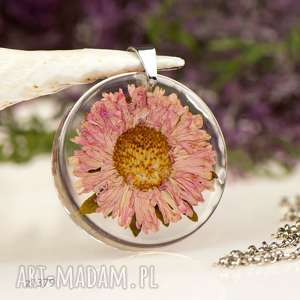 naszyjnik z suszonym astrem w żywicy z1379, kwiatami