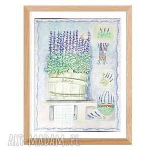 grafika szałwia 34 x 46 wykonana ręcznie, romantyczny shabby chic, obraz