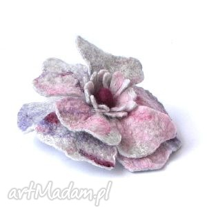 broszka z filcu - broszka, kwiat, filc, filcowanie