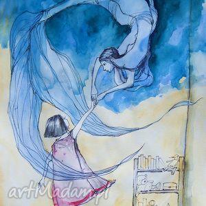 Praca akwarelą i piórkiem ZABAWA artystki plastyka Adriany Laube, syrenka