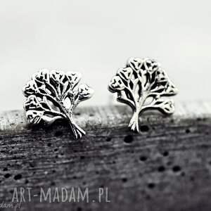 """925 Srebrne mini kolczyki """"Drzewo życia"""", drzewo, życia, wkrętki, 925, srebro, lekkie"""