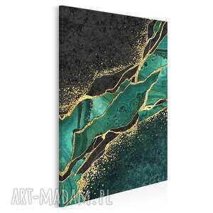 obraz na płótnie - marmur zielony złoty czarny w pionie 50x70 cm 99403