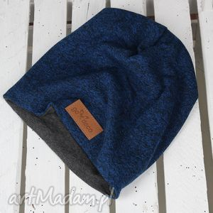 ciepła czapka beanie na prezent granatowa - ciepła, czapka, beanie, melanż
