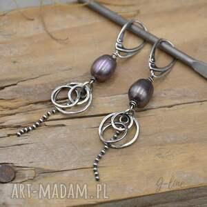 ciemna perła srebrne kolczyki 182, perła, srebro, srebro oksydowane, wiszące