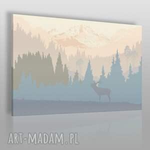 Obraz na płótnie - JELEŃ GÓRY PEJZAŻ 120x80 cm (24001), jeleń, góry, skandynawia