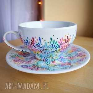 ceramika filiżanka ręcznie malowana dla niej multikolor, mamy, kobiety