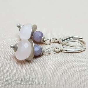 kolczyki srebrne z różowym kwarcem, srebro, lekkie kolczyki, biżuteria autorska