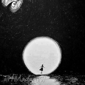 rysunek piórkiem la luna artystki plastyka adriany laube, księżyc, pełnia, woda