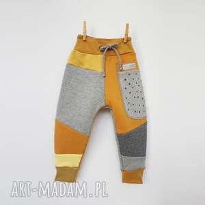 ręcznie wykonane patch pants spodnie 74 - 104 cm szary & kropki