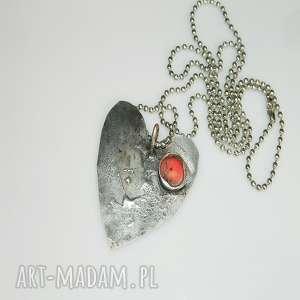 pod choinkę prezent, serce z koralem, serce, miedź, unikatowa-biżuteria