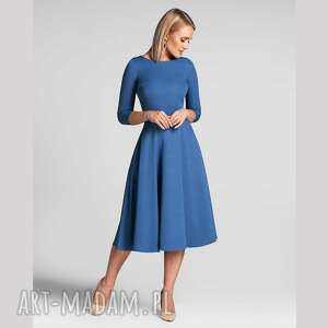 sukienka klara 3/4 total midi niebieski, midi
