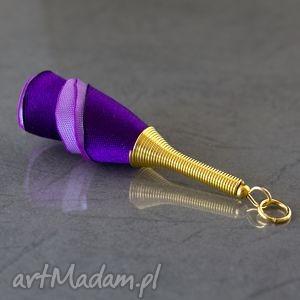 Wisiorek materiałowy fioletowy, wisiorek, naszyjnik, długi, lekki, tkanina, elegancki
