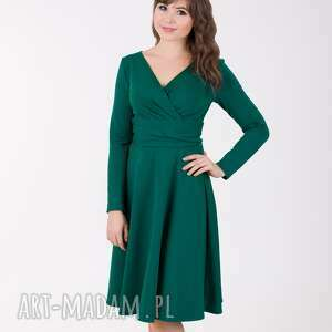 upominek świąteczny ADEL sukienka z kopertowym dekoltem, butelkowa zieleń., lalu