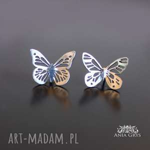 jedyne takie motyle, kolczyki, sztyfty, ażurowe, srebrne, aniagrys