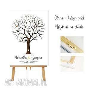 obraz drzewo wpisów 30x40 cm 4 poduszeczki z tuszem, ślubne