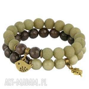 autorskie bransoletki brown & olive jade with pendants