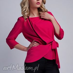Bluzka, BLU122 fuchsia, lamówka, wiązana, elegancka, koszulka, komunia, koszula
