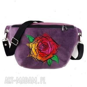 nerki nerka xxl róża, nerka, haft, kwiatowa, fioletowa, saszetka