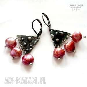 perły z majorki efektowne kolczyki hand made lekkie, perły przepięknie