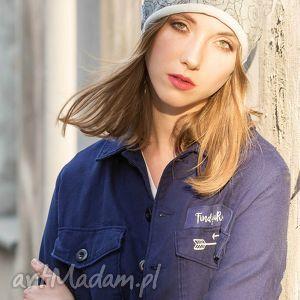 ręcznie zrobione czapki wygodna czapka beanie dres szary melanż