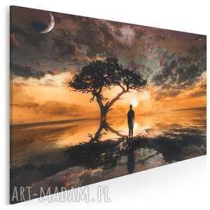 obraz na płótnie - pejzaż zachód słońca 120x80 cm 23501, pejzaż, krajobraz