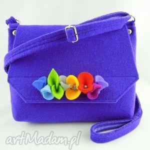 filcowa torebka dziecięca - fioletowa z kwiatkami, filc, filcowa, torebeczka, kwiatki