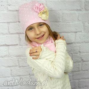 handmade czapki cienki komplet dla dziewczynki, czapka, komin, opaska