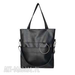torebki torba city nosie m black ekoskóra, czarna ekoskóra
