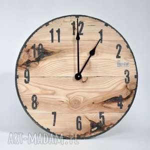 Zegar ścienny LOFT - modrzew, drewno, ścienny, naturalny, duży, desek, vintage