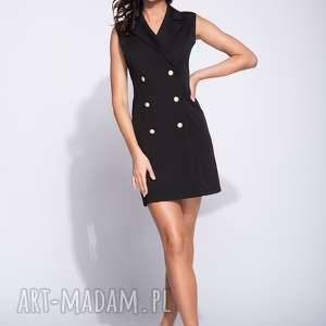Elegancka sukienka bez rękawów dwurzędowa, midi, bez-rękawow,